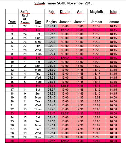 November Timetable